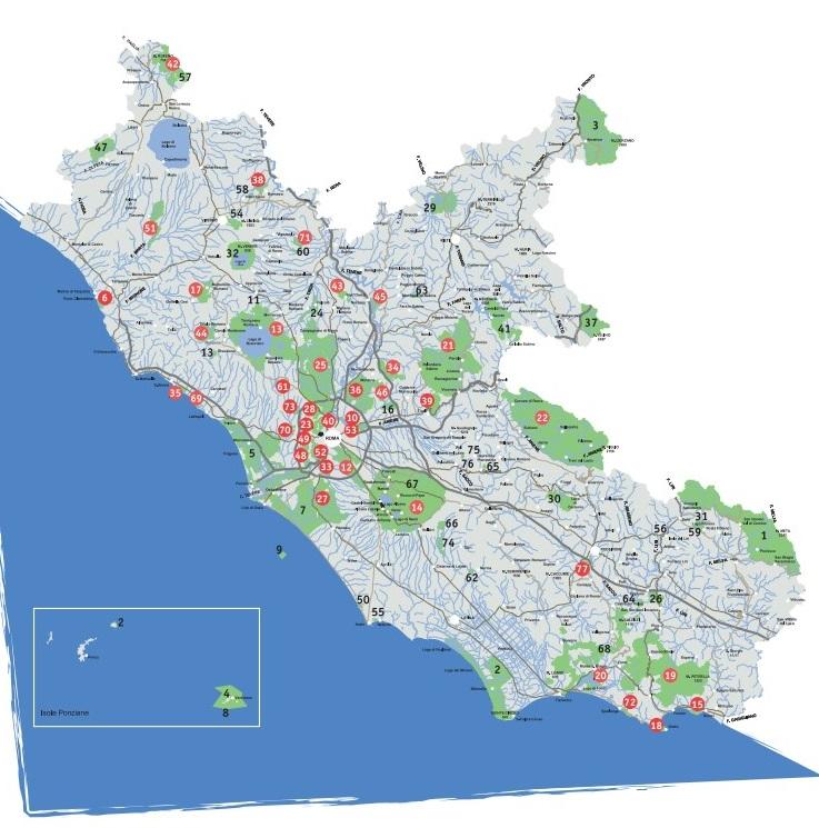 Cartina Lazio.Cartina Delle Aree Naturali Protette Del Lazio